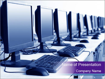 Computers Placed in a Row PowerPoint Template