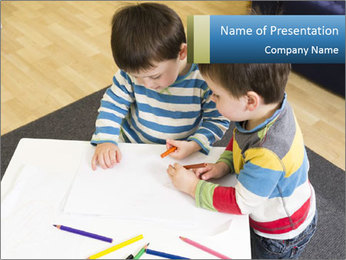 Two Boys Drawing PowerPoint Template