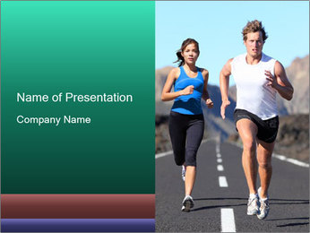 Couple Jogging on the Road PowerPoint Template