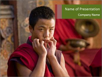 Budhist Monks in Jakar PowerPoint Template