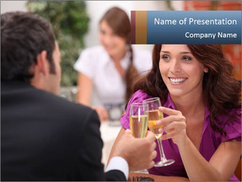 Couple Flirting in the Restaurant PowerPoint Template
