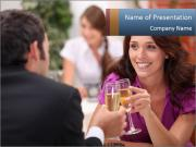 Couple Flirting in the Restaurant PowerPoint Templates