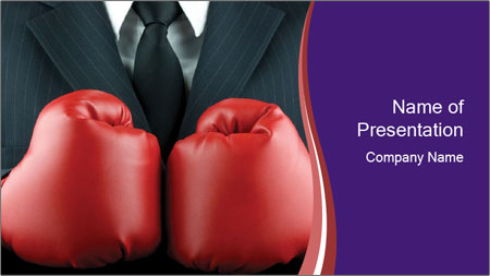 businessman in red boxing gloves powerpoint template backgrounds