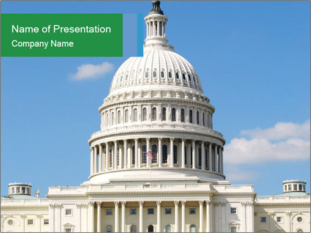 white capitol building powerpoint template & backgrounds id, Modern powerpoint