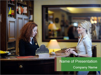 Woman Talking to Hotel Receptionist PowerPoint Template