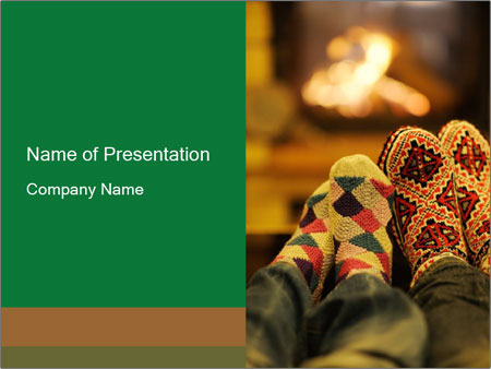 Romantic Couple Sitting Near Fireplace Powerpoint Template