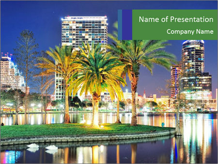 night lights of orlando city powerpoint template & backgrounds id, Modern powerpoint