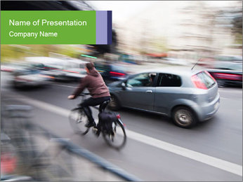 Cyclist on the Road PowerPoint Template