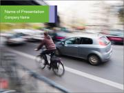 Cyclist on the Road PowerPoint Templates