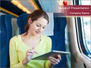 Woman Traveling by Train with Tablet PowerPoint Templates