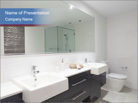 Black and White Bathroom Design PowerPoint Template Backgrounds ID