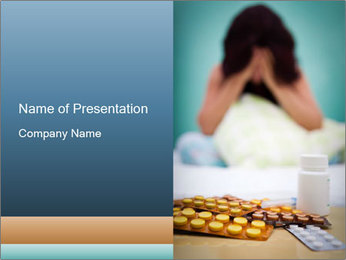 Sick Woman Taking Medical Tablets PowerPoint Template