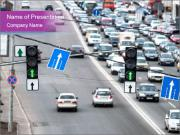 Traffic Lamps on the Road PowerPoint Templates