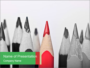 Red Pencil Among Black Ones PowerPoint Template