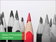 Red Pencil Among Black Ones PowerPoint Templates