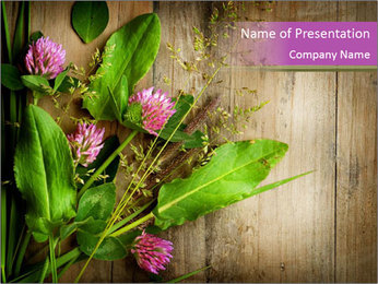 Clover on Wooden Surface PowerPoint Template