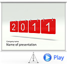 Red 2011 Calendar Animated PowerPoint Template