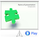 Green Puzzle Piece Animated PowerPoint Template