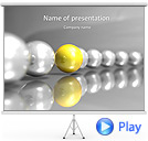 Yellow-Silver Sphere Chain Animated PowerPoint Template