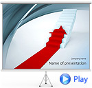 Red Arrow On Stairs Animated PowerPoint Templates