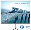 Train On The Bridge Animated PowerPoint Template