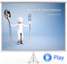 Abstract Man With Spoon And Fork Animated PowerPoint Template
