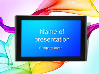 IPad On Abstract Background PowerPoint Template