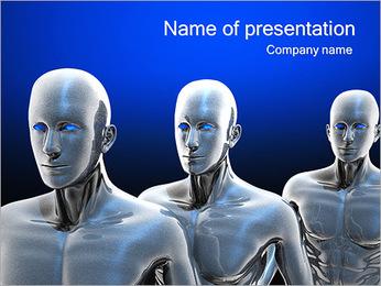 Three Steel Robots PowerPoint Template
