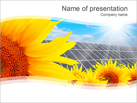 Sunflower And Solar Pannel PowerPoint Template & Backgrounds ID ...