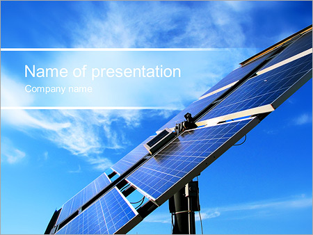 solar panel and blue sky powerpoint template & backgrounds id, Presentation templates