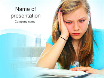 Sad Young Lady PowerPoint Template