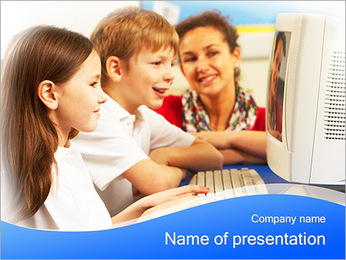 Computer Class At School PowerPoint Template