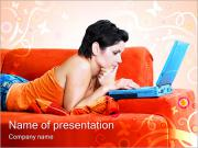Young Lady With Laptop PowerPoint Templates