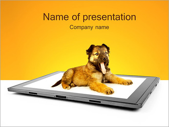 Puppy On IPad PowerPoint Template