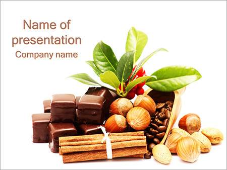 chocolate with nuts powerpoint template & backgrounds id, Presentation templates
