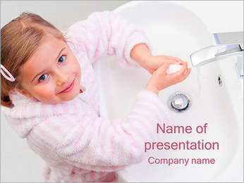 Girl Washes Hands PowerPoint Template