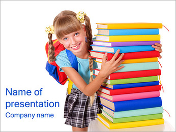 Young Girl With Books PowerPoint Template