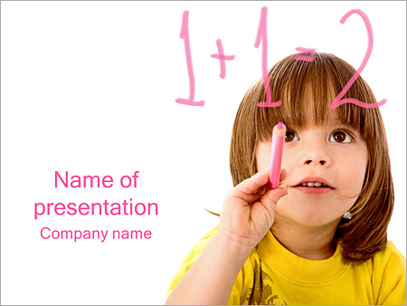 boy learns math powerpoint template & backgrounds id 0000003489, Modern powerpoint