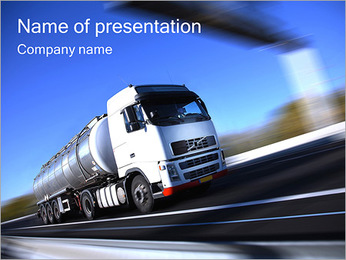 Truck On The Road PowerPoint Template