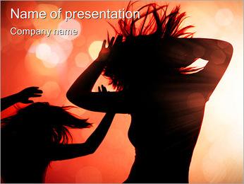 Disco Dancing Girls PowerPoint Template