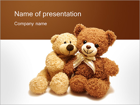 two cute teddy bears powerpoint template backgrounds google