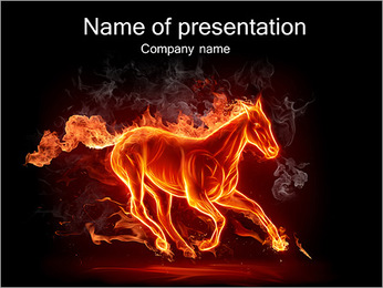 Horse Fire PowerPoint Template