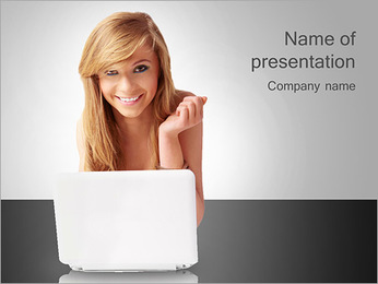 Cute Young Lady PowerPoint Template