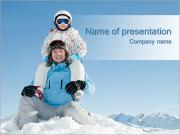Family Ski Holiday PowerPoint Templates