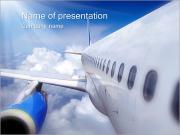 飛行機で旅する PowerPointプレゼンテーションのテンプレート