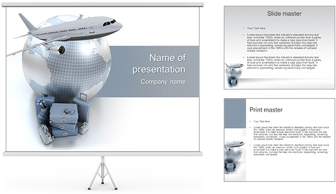 International Travelling By Plane PowerPoint Template