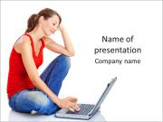 Sitting Young Lady With Laptop PowerPoint Templates