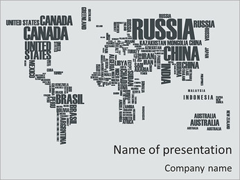 Typed World Map PowerPoint Template