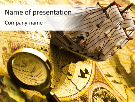 Ship Model On Ancient Map Powerpoint Template Backgrounds Google