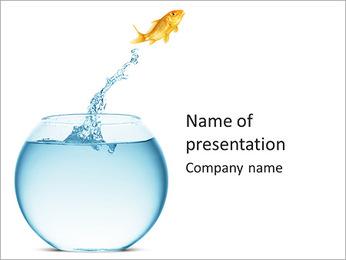 Golden Fish In Aquarium PowerPoint Template